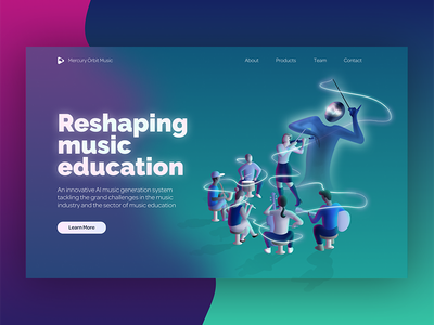 Mercury Orbit Music landing page (dark version) rehearsal musicians music class music maestro landing page illustration landing page illustration homepage ai