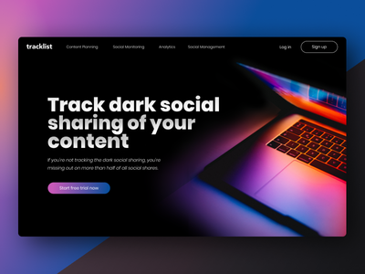 Dark Social Tool Homepage social media macbook landingpage landing page homepagedesign homepage design homepage dark