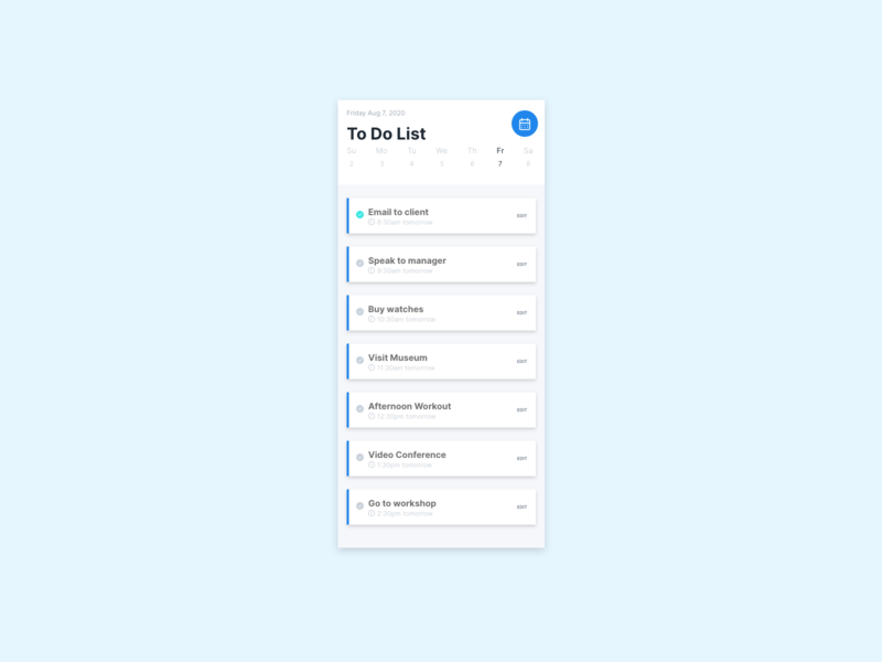 Daily UI 42 To Do list calendar app dailyuichallenge to-do list todo task mobile ui dailyui challenge 42 042
