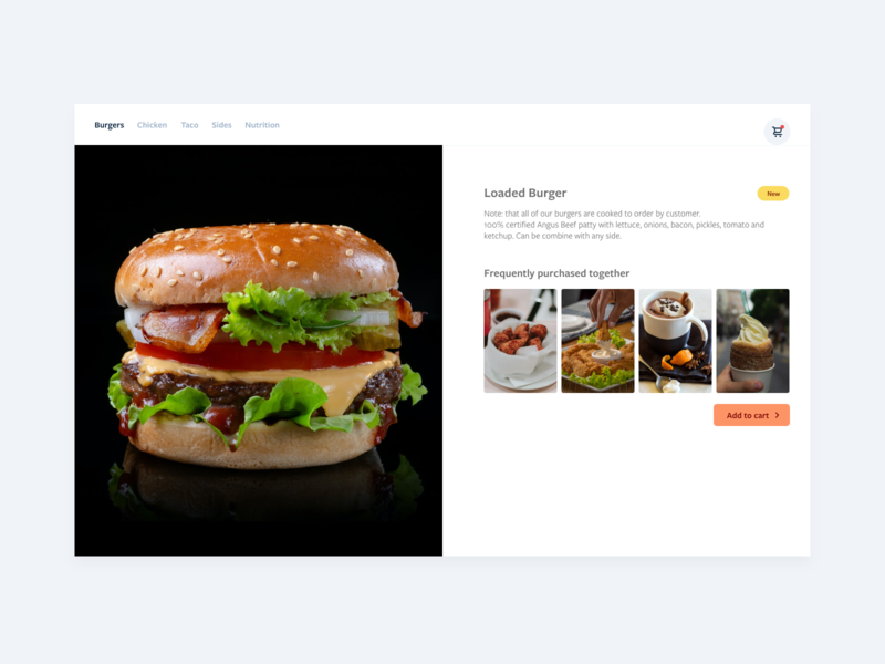 Daily UI 43- Food/Menu app fastfood burger eat cuisine meal ingredients food app food and drink ux recipe ui food design