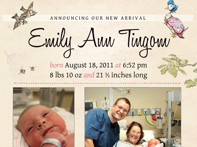 Birth Announcement baby girl birth announcement baby jemima puddle-duck
