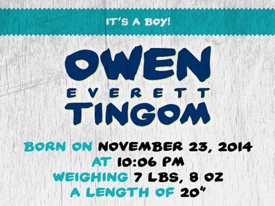 It's a Boy! baby announcement baby boy owen blue new baby name newborn announcement blue and green new baby boy email baby announcement everett boy announcement