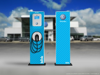 Work for Volkswagen (Electric Vehicle Wrap) ecotality design design concept blue stripes wrap design ev charger vw volkswagen blink electric vehicle wrap ev design wrap electric vehicle charger