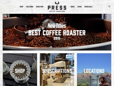 Press Coffee Web Site woocommerce subscriptions custom design scottsdale phoenix arizona coffee shop design wordpress woocommerce coffee web site press coffee