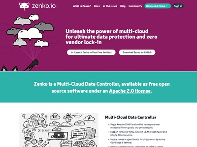 Zenko Web Site fox teal purple storage scality s3 server multicloud zenko wordpress
