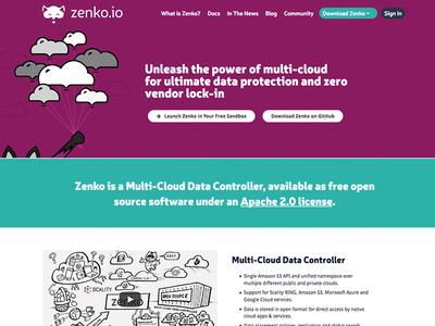 Zenko Web Site fox teal purple storage scality s3 server multicloud zenko wordpress