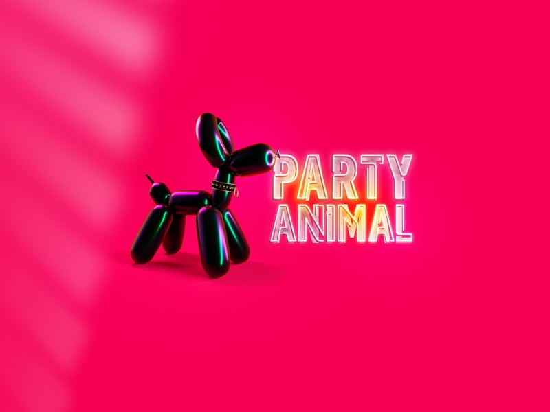 Party Animal animals pink black fetish dog balloon party invitation party poster party event party flyer party animal animal template design print club club flyer party