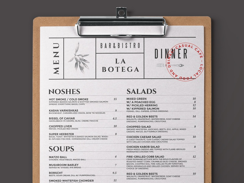 rustic menu design by bigweek dribbble