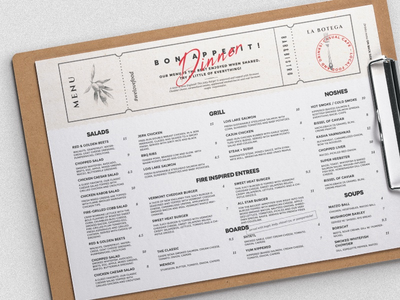 menu design by bigweek dribbble