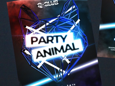 House Club Party neon party animal fur club party club night ladies night house dance night red modern party event dj dance music music fashion club flyer party flyer party invitation