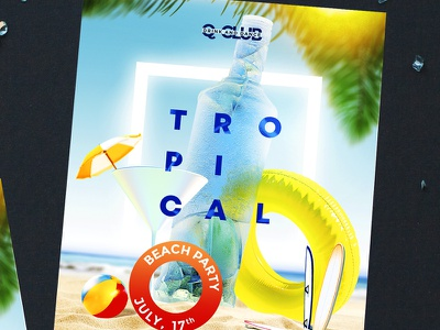 Tropical Summer Party girls sexy hot cocktail beach party tropical summer summer sale facebook insta instagram stories promotion promotion flyer beach summer party summer party flyer template print club flyer