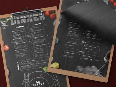 Rustic restaurant menu
