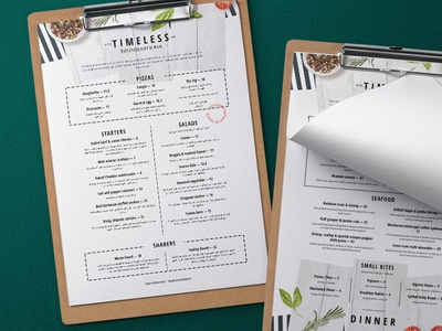 Rustic Restaurant Menu