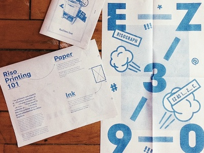 Riso Poster riso ez390 print blue poster pamphlet booklet brochure typogrpahy