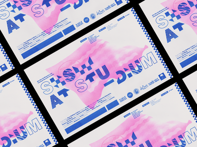 She Shreds SXSW Event Poster geometric type typography palm tree event flag riso print flier poster