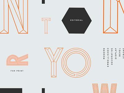 Custom Noir Type stroke bevel display editorial contemporary 1920s bauhaus modern condensed typography custom type