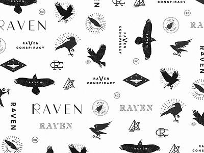 Ravens blackbird crow black flying icon typography type branding bird raven logo