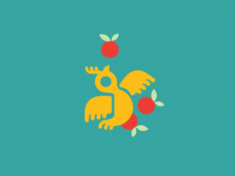 Boop! colorful identity branding logo animal fruit icon pictogram orange flight bird