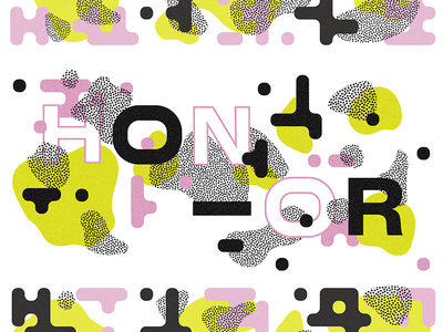 Honor & Camo blobs dots cute colorful sans serif typography type geometric pattern camouflage