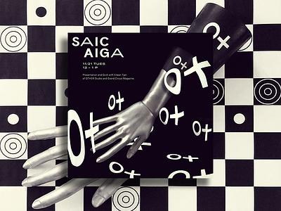 SAIC / AIGA sans serif custom type type poster photo hand checker pattern flyer design