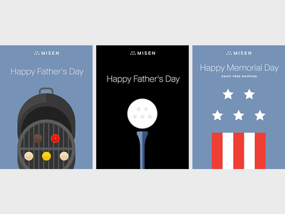 Misen Holiday Post stars stripes ball bbq burger illustration summer memorial day fathers day flag golf grill