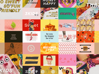Concepting people honey product moodboard lifestyle chinese colorful sketch concept illustration branding logo