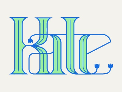 Kate2 kate typography green blue flowers tulip type illustration vector