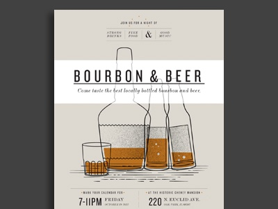 Bourb n Beer bourbon beer glass whisky drinks alcohol poster typography tan flier