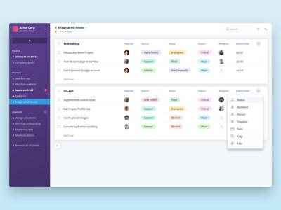 Favro UI Exploration - Tracking Sheets