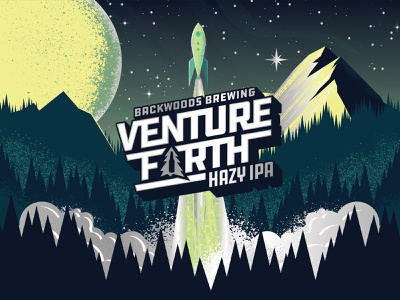 Venture Forth rocket launch starts galaxy lettering logo type packaging beer can design can beer label craft beer beer moon mountain forest rocket illustration space