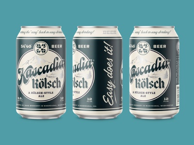5440 Kascadia Kolsch illustration badge logo packaging typography brewery craft beer label design retro lettering vintage design beer label beer can beer