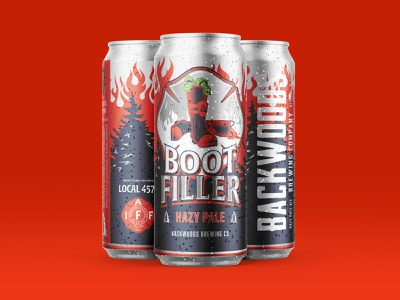 BootFiller Pale logo design type badge money boot forest fireman flames fire brewery packaging beer can beer labl beer