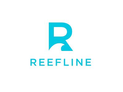 Reefline identity brand letter lockup design negative space mark surfer reef beach ocean wave logo