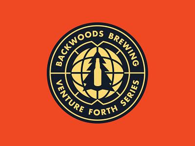 Backwoods Badge icon mark type brewery tree planet world globe stamp seal crest circle identity beer brand illustration design logo badge