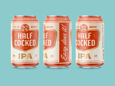 Half-Cocked IPA typography retro mockup vintage illustration design label brewery beer can design packaging beer can beer