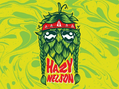 Hazy Nelson color weed 70s trippy type green country willie nelson psychedelic retro 420 brewery beer hop design illustraiton