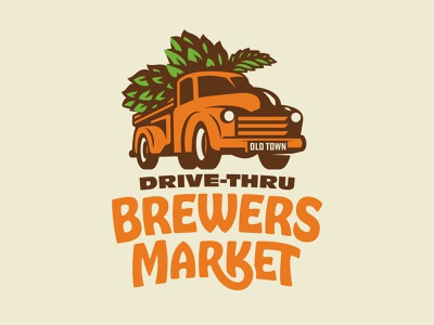 Brewers Market farmers market farmer car type orange garden farm vintage lettering typography brand logo brewery beer hops truck