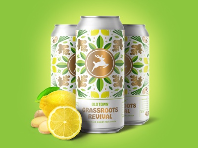 Grassroots Revival fruit leaves alcohol beer can packaging citus lemongrass ginger lemon pattern lettering illustration design brewery branding beer label beer