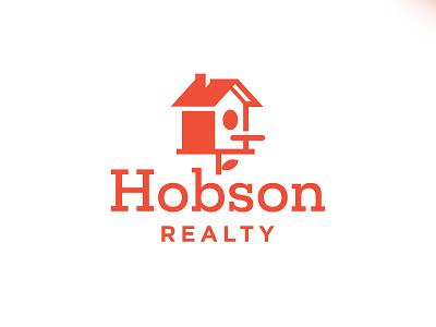 Hobson Realty coorporate illustration clean logotype symbol roof real estate mark logomark designer birdhouse bird house home building minimal logo architecture realty