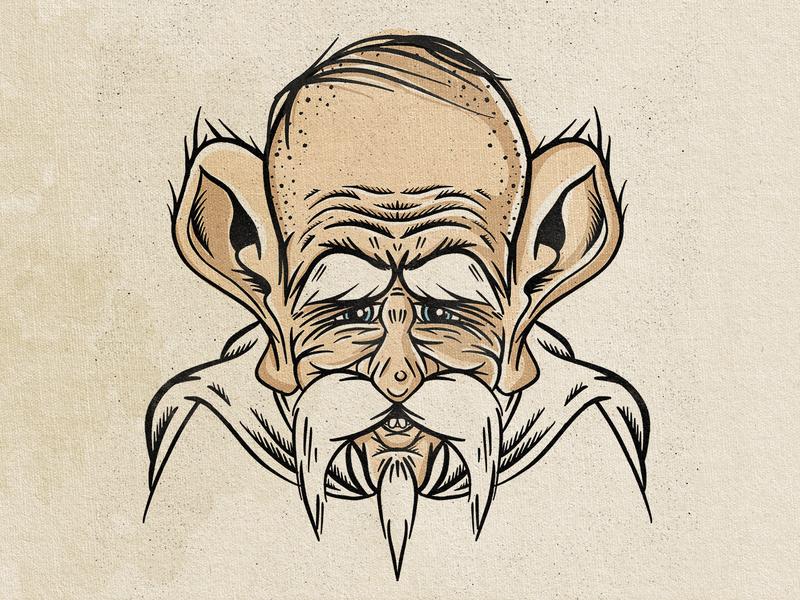 The Wizard texture design procreate hair cartoon ear mustache beard man old vintage illlustration spell dungeons  dragons dungeon dnd magic mage
