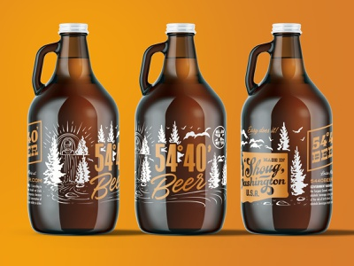Jughandle alcohol craft beer landscape washington packaging label brewery forest nature outdoors vintage waterfall beer packaging growler illustration beer