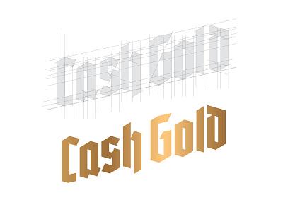 Cash Gold line alcohol brewery beer lettering logo black letter logotype logo grid custom typogaphy gold blackletter type lettering