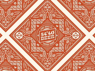Bandana retro vintage pattern malt craft beer beer hops typography print illustration hand drawn graphic custom type apparel bandana