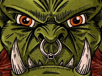 Orc retro dungeons and dragons dungeon design sketch dnd comic vintage texture face fantasy orc illustration