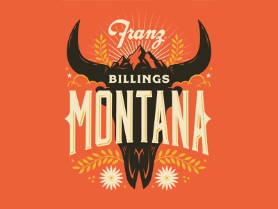 Billings, Montana vintage bull skull horns lockup typography design flowers skull bull mountain montana illustration