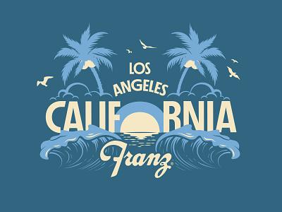 Los Angeles, California west coast vintage vintage illustration clouds bird palm tree wave sunset design ocean beach los angeles california illustration