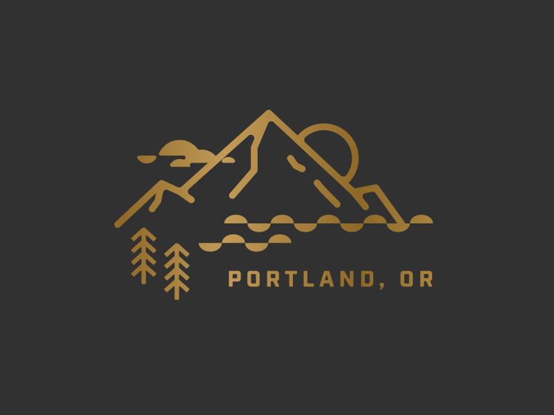 Home Sweet Home portland graphic design oregon mountain tree wood icons flat vector logo design illustration