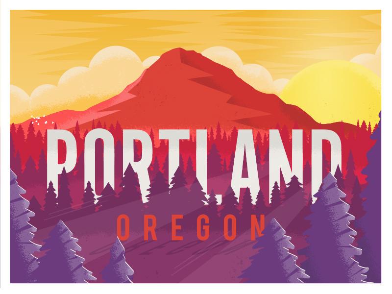 Portland, Oregon mt.hood forest explore vector nature landscape illustration northwest trees mountain oregon portland