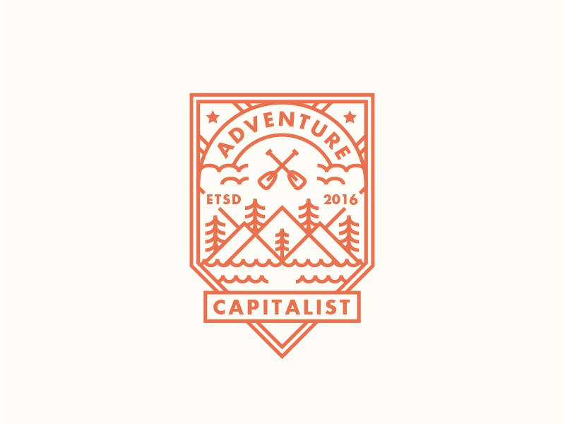 Adventure Capitalist 3 nature apparel vector logo outdoors travel line art badge design patch illustration adventure
