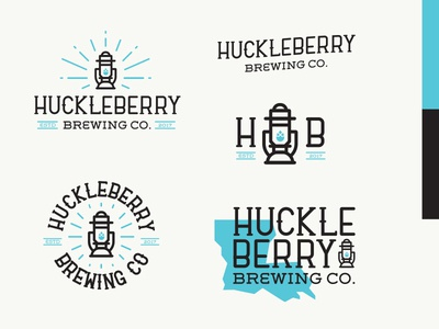 Huckleberry Brewing Full Set louisiana lantern mark logo lines illustration identity icon design beer brewery branding